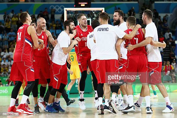 Serbia celebrates after defeating Australia in the Men's Semifinal match on Day 14 of the Rio 2016 Olympic Games at Carioca Arena 1 on August 19 2016...