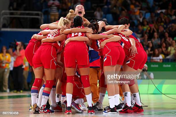 Serbia celebrates after defeating France 7063 in the Women's Bronze Medal basketball game on Day 15 of the Rio 2016 Olympic Games at Carioca Arena 1...