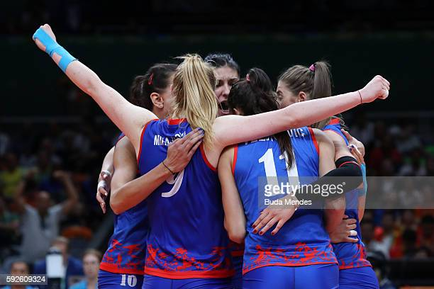 Serbia celebrates during the Women's Gold Medal Match between Serbia and China on Day 15 of the Rio 2016 Olympic Games at the Maracanazinho on August...