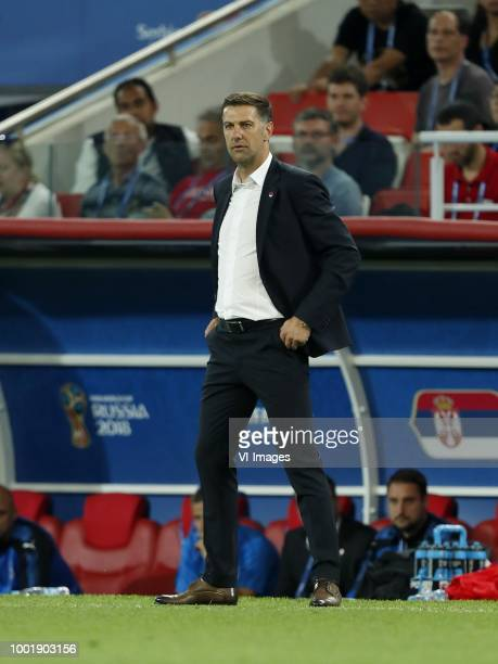 Serbia coach Mladen Krstajic during the 2018 FIFA World Cup Russia group E match between Serbia and Brazil at the Otkrytiye Arena on June 27 2018 in...