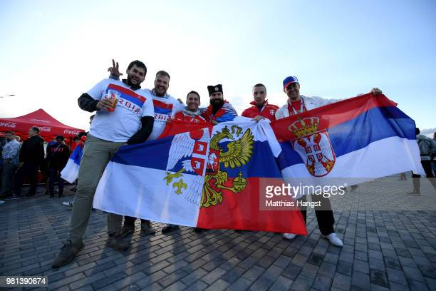 Serbia fans enjoy the pre match atmosphere prior to the 2018 FIFA World Cup Russia group E match between Serbia and Switzerland at Kaliningrad...
