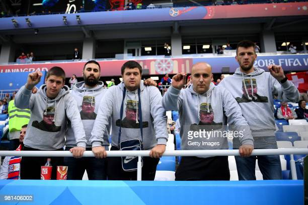Serbia fans in the stands prior to the 2018 FIFA World Cup Russia group E match between Serbia and Switzerland at Kaliningrad Stadium on June 22 2018...