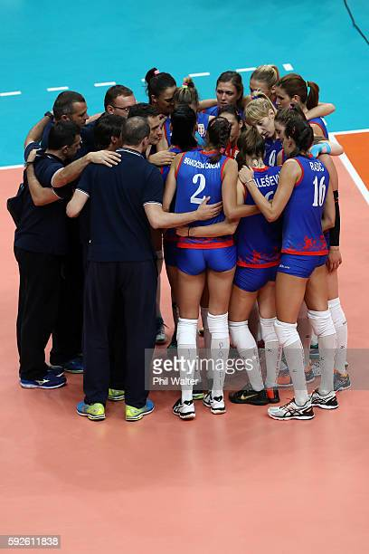 Serbia gathers after a loss in the Women's Gold Medal Match between Serbia and China on Day 15 of the Rio 2016 Olympic Games at the Maracanazinho on...