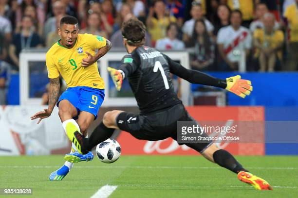 Serbia goalkeeper Vladimir Stojkovic spreads himself as Gabriel Jesus of Brazil shoots though he is later rule offside during the 2018 FIFA World Cup...