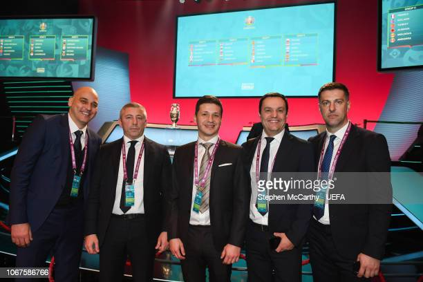 Serbia head coach Mladen Krstajic and the Serbia delegation following the UEFA Euro 2020 Draw on December 2 2018 in Dublin Ireland