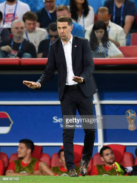 Serbia head coach Mladen Krstajic gestures during the 2018 FIFA World Cup Russia group E match between Serbia and Brazil at Spartak Stadium on June...