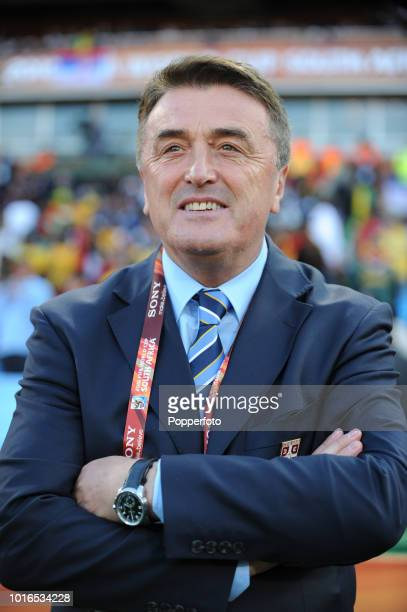Serbia manager Radomir Antic looks on during the 2010 FIFA World Cup Group D match between Serbia and Ghana at Loftus Versfeld Stadium in Pretoria,...
