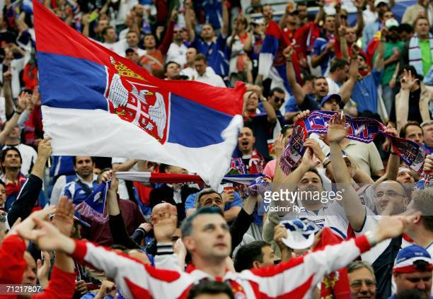 Serbia Montenegro fans show their support during the FIFA World Cup Germany 2006 Group C match between Argentina and Serbia Montenegro at the Stadium...
