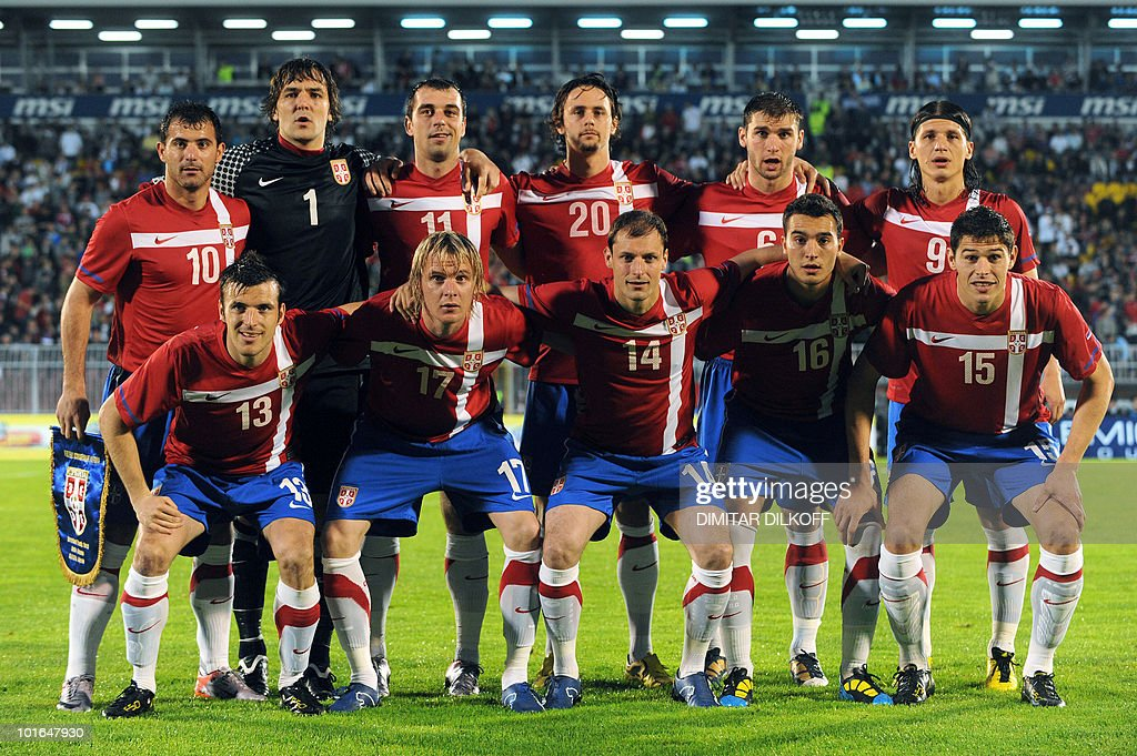 Serbia national football team poses prior to the WC2010 friendly football match Serbia vs Cameroon at Partizan stadium in Belgrade on June 5, 2010 ahead of the FIFA 2010 World Cup in South Africa. (FromL) BottomRow: Aleksandar Lukovic, Milos Krasic, Milan Jovanovic, Ivan Obradovic and Nikola Zigic. TopRow: Dejan Stankovic, Vladimir Stojkovic, Nenad Milijas, Neven Subotic, Branislav Ivanovic and Marko Pantelic.