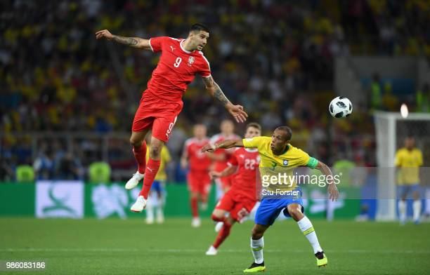 Serbia player Aleksandar Mitrovic in action during the 2018 FIFA World Cup Russia group E match between Serbia and Brazil at Spartak Stadium on June...
