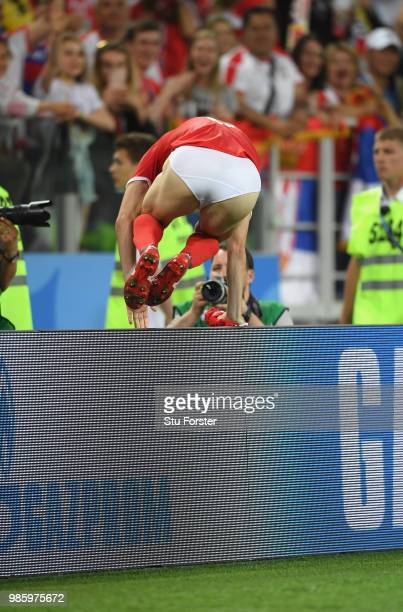 Serbia player Antonio Rukavina pictured in his underwear after the 2018 FIFA World Cup Russia group E match between Serbia and Brazil at Spartak...
