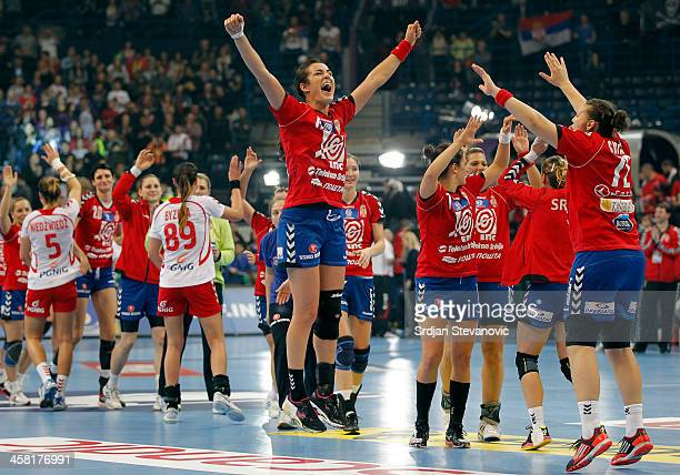 Serbia players celebrate their victory after the World Women's Handball Championship 2013 Semi Final match between Poland and Serbia at Kombank Arena...
