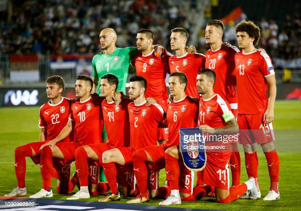 Serbia players pose for a team photo prior the UEFA Nations League C group four match between Serbia and Romania at stadium Partizan on September 10...