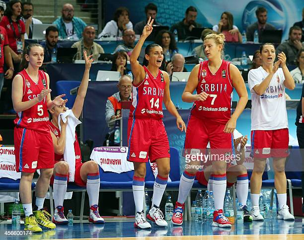 Serbia players react during the 2014 FIBA Women's World Championship quarterfinal basketball match between Turkey vs Serbia at Fenerbahce Ulker...