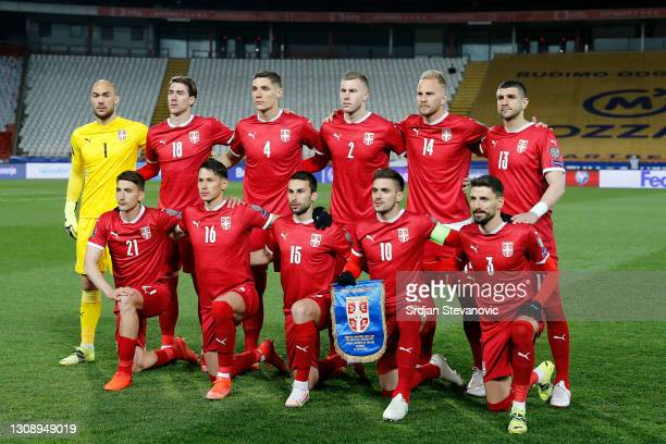 Serbia pose for a team photo prior to the FIFA World Cup 2022 Qatar qualifying match between Serbia and Republic of Ireland on March 24, 2021 in...