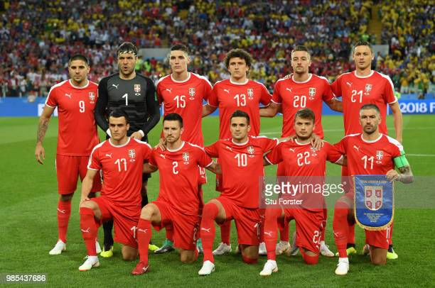 Serbia pose prior to the 2018 FIFA World Cup Russia group E match between Serbia and Brazil at Spartak Stadium on June 27 2018 in Moscow Russia