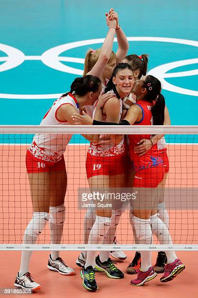 Serbia reacts while taking on the United States in the Women's Volleyball Semifinal match at the Maracanazinho on Day 13 of the 2016 Rio Olympic...
