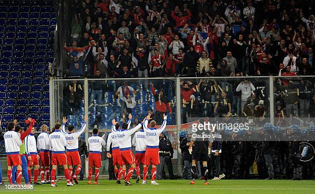 Serbia team during the UEFA Euro 2012 qualifying match between Italy and Serbia at Luigi Ferraris Stadium on October 12, 2010 in Genoa, Italy.