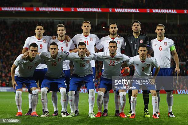 Serbia team line up during the FIFA 2018 World Cup Qualifier between Wales and Serbia at Cardiff City Stadium on November 12 2016 in Cardiff Wales