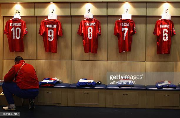 Serbia team member hangs prepares the dressing room during the 2010 FIFA World Cup South Africa Group D match between Serbia and Ghana at Loftus...