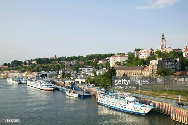 SERBIA-Belgrade: Danube River barges and Stari Grad
