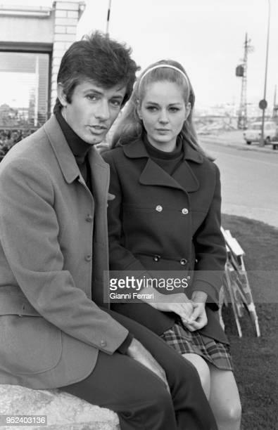 Serbian actress Beba Loncar and American actor George Chakiris during the filming of 'Sharon vestida de rojo' Madrid, Spain.