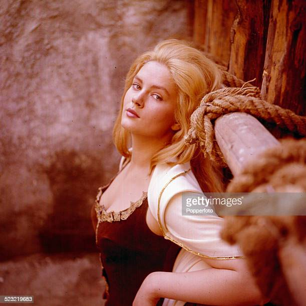 Serbian actress Beba Loncar posed in costume on a film set in 1963