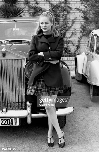 Serbian actress Beba Loncars during the filming of 'Sharon vestida de rojo' Madrid Spain