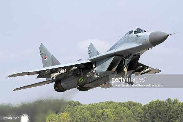 Serbian Air Force MiG-29 departing with two AA-8 Aphid missiles, Graf Ignatievo Air Base, Bulgaria.