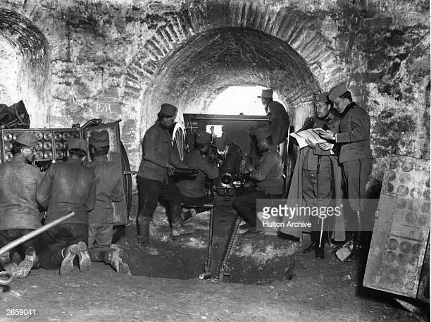 Serbian artillery firing on German and Bulgarian forces led by August von Mackensen at Semlin near Belgrade