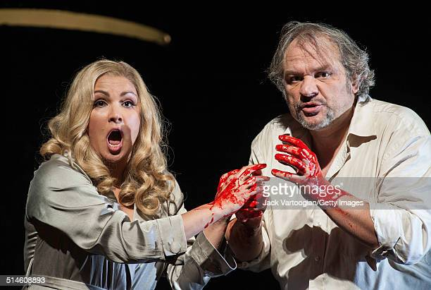 Serbian baritone Zeljko Lucic and Russian soprano Anna Netrebko perform during the final dress rehearsal prior to the season premiere of the...