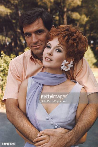 Serbian born Italian actress Beba Loncar pictured together with American actor John Gavin in Rome Italy during production of the film 'Pussycat...