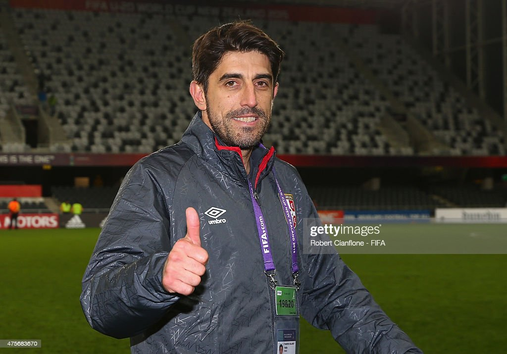 Serbian coach Veljko Paunovic gives the thumbs up after Serbia defeated Mali during the FIFA U-20 World Cup New Zealand 2015 Group D match between Serbia and Mali at Otago Stadium on June 3, 2015 in Dunedin, New Zealand.