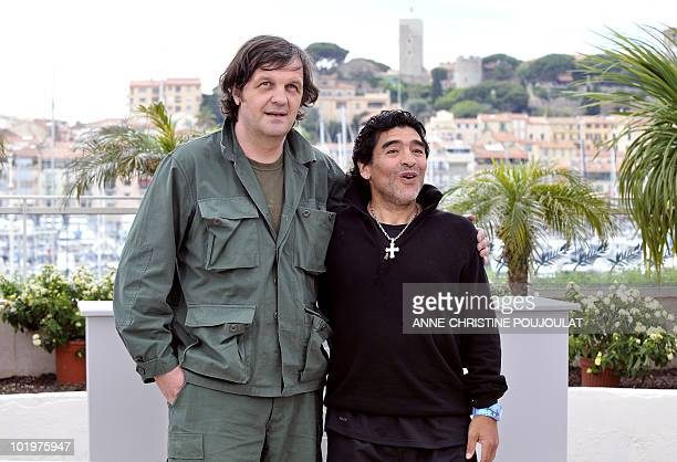 Serbian director Emir Kusturica and former Argentinian football player Diego Maradona attend a photocall for their film 'Maradona by Kusturica' at...