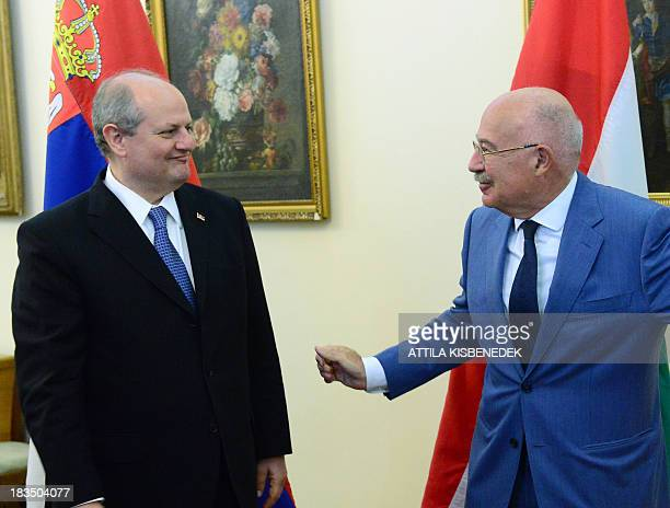 Serbian Foreign Minister Ivan Mrkic is welcomed by his Hungarian counterpart Janos Martonyi in the Hungarian Ministry for Foreign Affairs of Budapest...