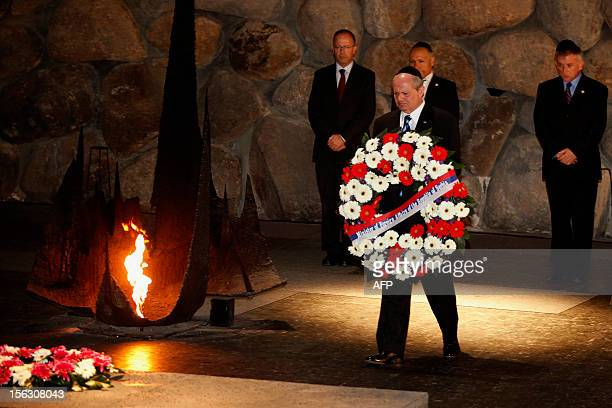 Serbian Foreign Minister Ivan Mrkic lays a wreath at the Hall of Remembrance on November 13 during his visit to the Yad Vashem Holocaust Memorial...