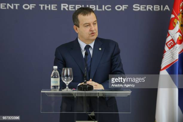 Serbian Foreign Minister Ivica Dacic and Algerian Foreign Minister Abdelkader Messahel hold a joint press conference after their meeting in Belgrade...