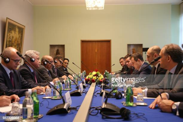Serbian Foreign Minister Ivica Dacic meets with Algerian Foreign Minister Abdelkader Messahel in Belgrade Serbia on March 24 2018