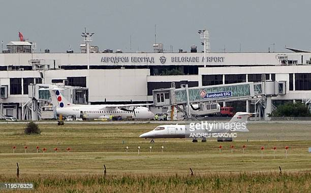 A Serbian government plane carrying war crimes suspect Goran Hadzic prepares to take off at Belgrade airport on July 22 2011 Former Croatian Serb...