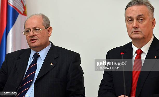 Serbian Minister of Foreign Affairs Ivan Mrkic and his Bosnian counterpart Zlatko Lagimdzija take questions at press conference after bilateral...