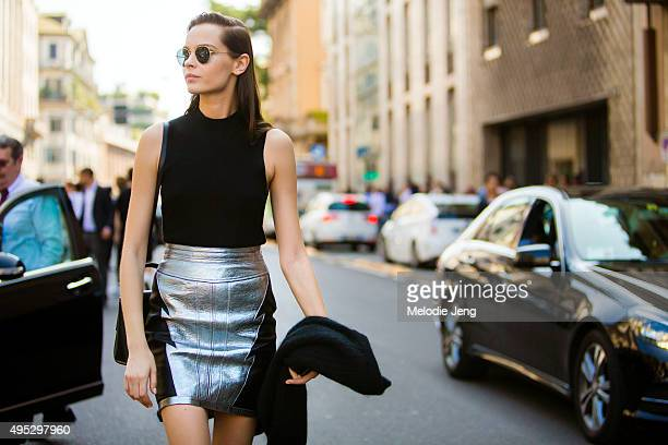 Serbian model Mina Cvetkovic exits the Roberto Cavalli show during the Milan Fashion Week Spring/Summer 16 on September 26 2015 in Milan Italy Mina...