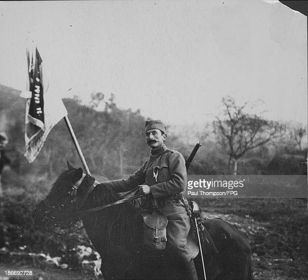 Serbian mounted officer in Durazzo on the Balkan Front during World War One Albania circa 19141918