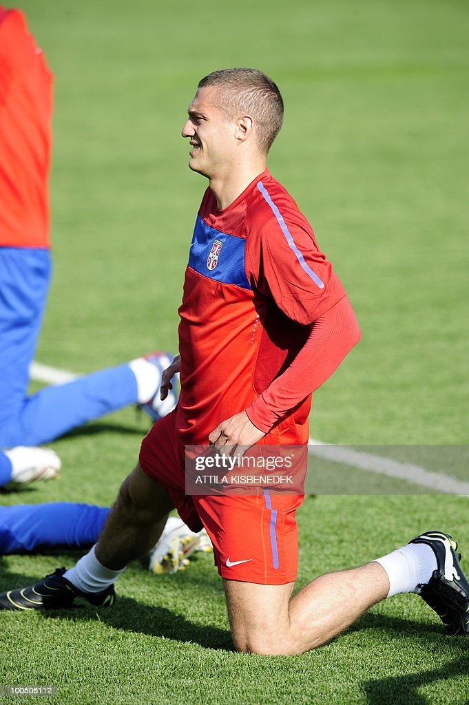 Serbian national football team player Nemanja Vidic warms up in a stadium in Leogang, Austria on May 25, 2010 during their first training session in preparation for the 2010 World Cup in South Africa.