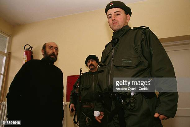 Serbian nationalist Zeljko Raznatovic better known as Arkan is in Erdut training members of the Serbian Volunteer Guard or 'Arkan's Tigers' during...