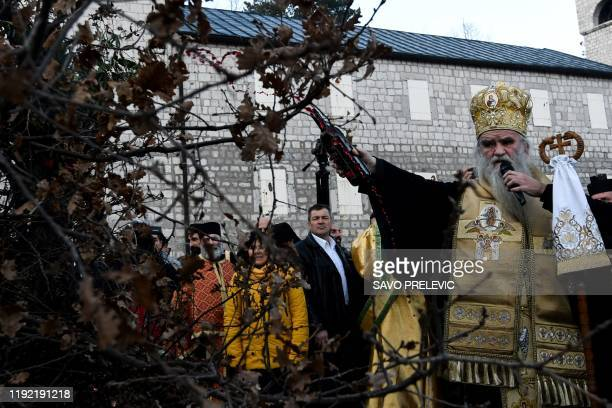 Serbian Orthodox Church Bishop Amfilohije Radovic attends a ceremonial burning of dried oak branches the Yule log symbol for the Orthodox Christmas...
