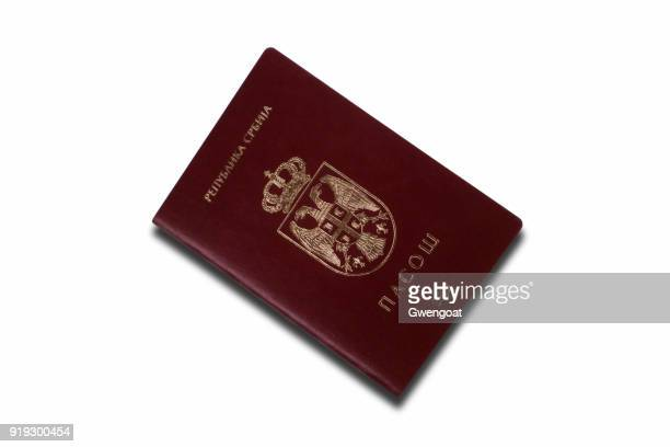 Serbian passport isolated on a white background
