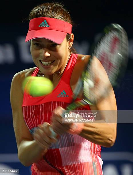 Serbian player Ana Ivanovic returns the ball to Czech player Barbora Strycova during their quarterfinal WTA game as part of the Dubai Duty Free...