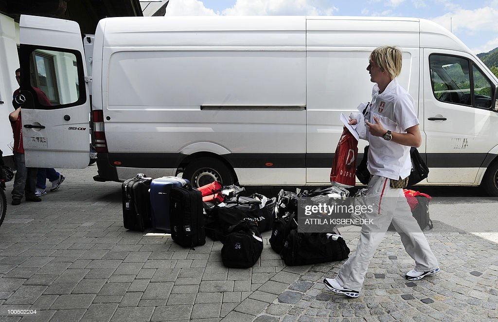 Serbian player Milos Krasic of CSKA Moscow gets off from a bus as the national soccer team arrives at the Hotel Krallerhof in Leogang, Austria on May 25, 2010 where the Serbian team is staying while holding a training camp to prepare for the 2010 World Cup in South Africa.