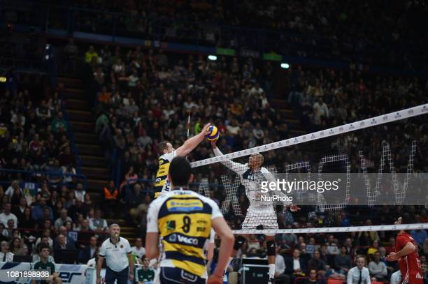 Serbian player Tine Urnaut of Azumit Leo Shoes Modena and Dutch player Nimir Abdel Aziz of team Rivivre Milano playing playing during 11th day of the...