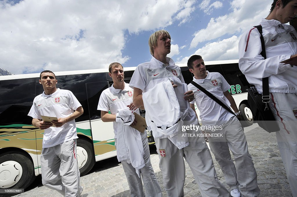 Serbian players get off from their bus as their national soccer team arrives at the Hotel Krallerhof in Leogang, Austria on May 25, 2010 where the Serbian team is staying while holding a training camp to prepare for the 2010 World Cup in South Africa.